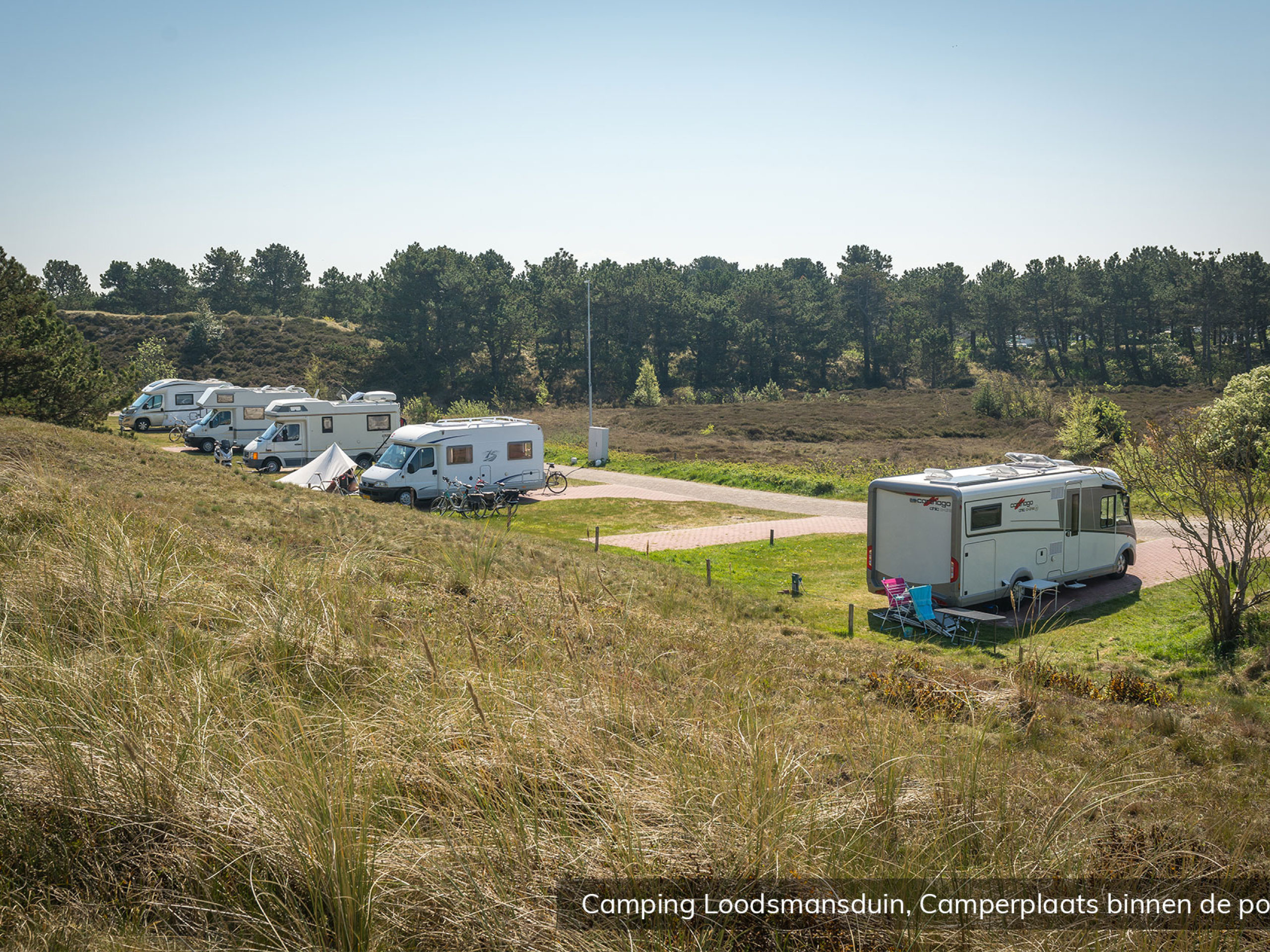 Camperplace with electricity at camping in the dunes by Den Hoorn