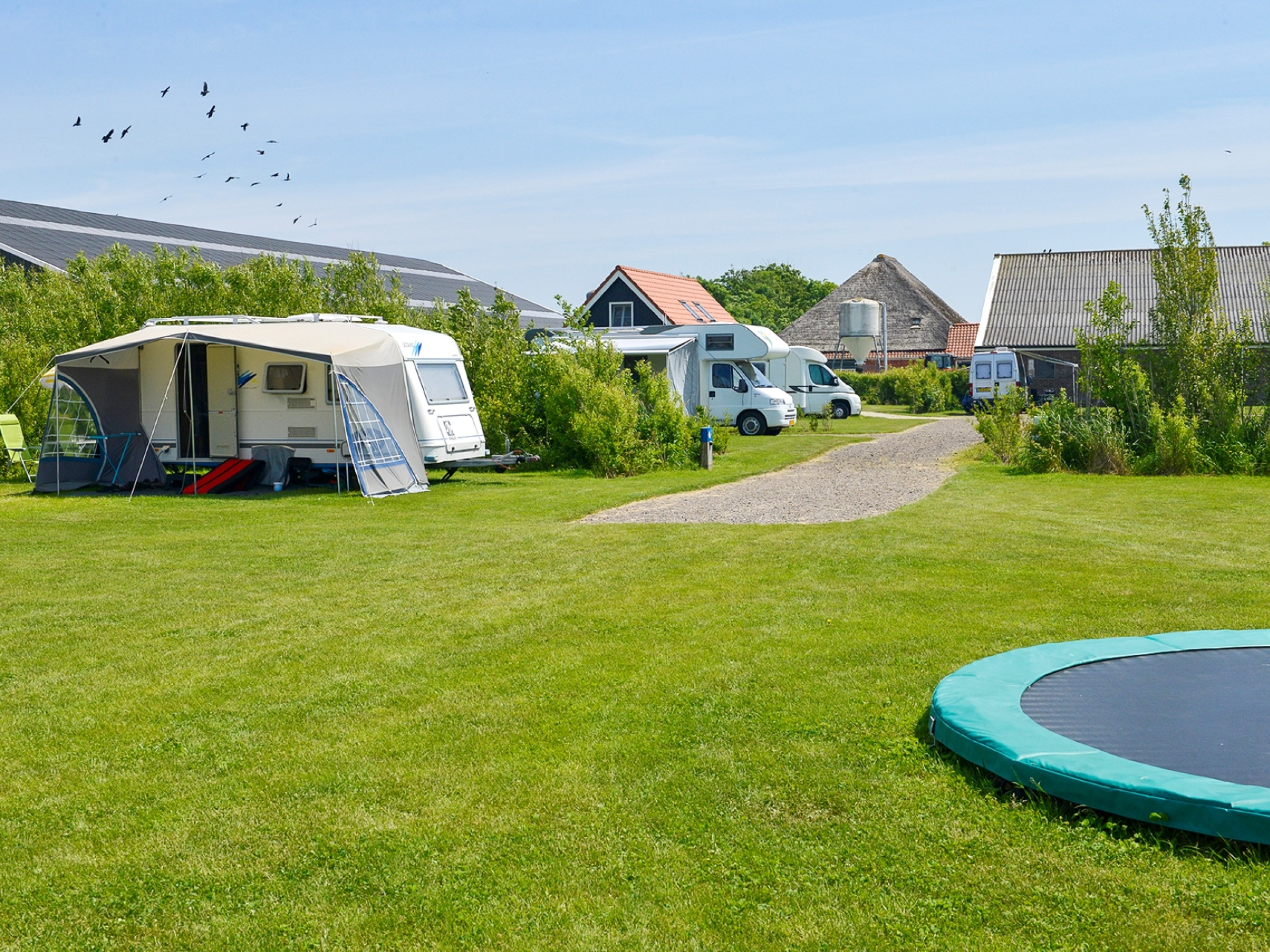 Camping with a tent or caravan on a farm site